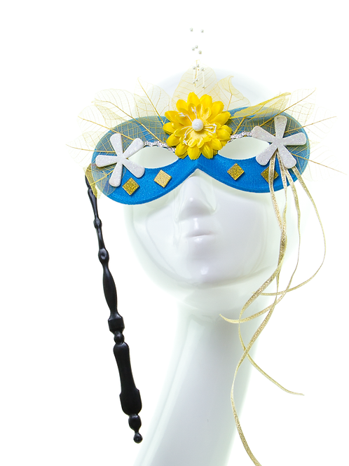 Solstice - Floral Blue Stick Mask