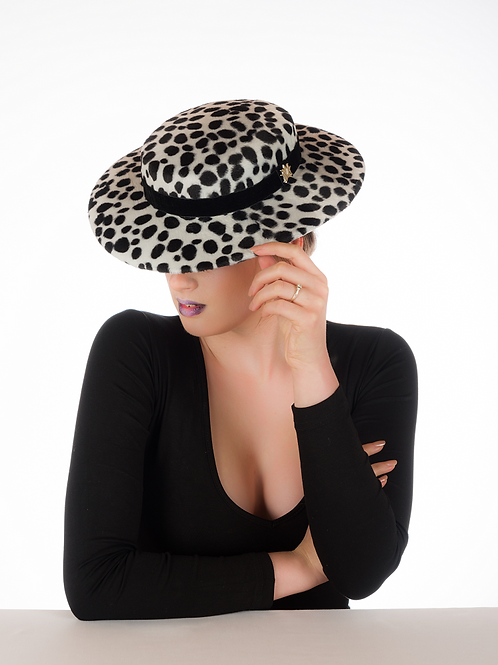 Purdy - Dalmatian Print Boater Hat