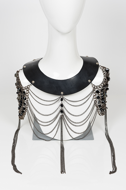 Esclave - Leather and Glass Beaded Chain Collar