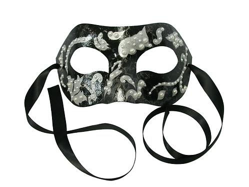 André - Black Marbled Venetian Mask