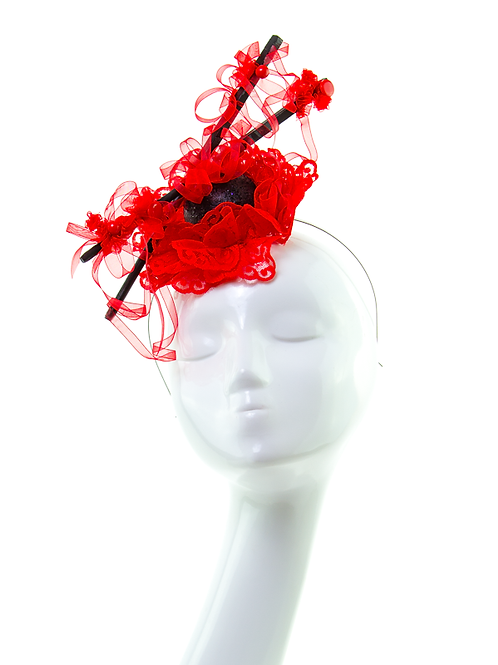 HASHI - Couture Oriental Red Headpiece