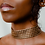 Thumbnail: Antique Gold Choker Square Mesh Necklace