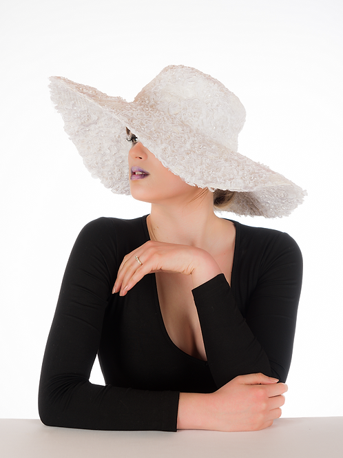 Anastasia - White Lace Embellished Floppy Hat
