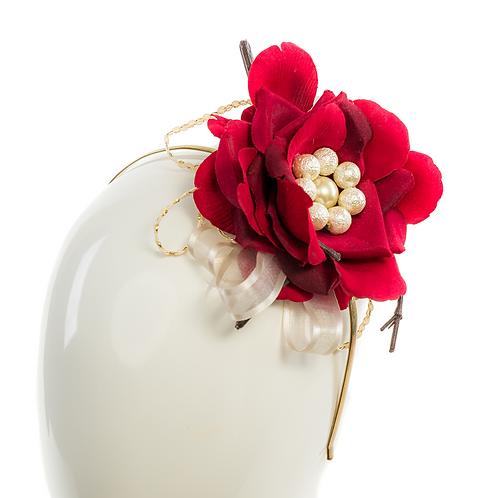 CRIMSON -  Floral Red Headpiece