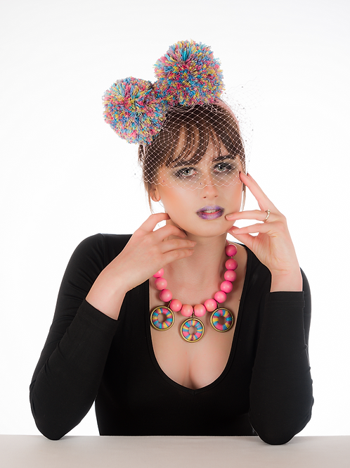 Kiki - Pink Pompom Headband