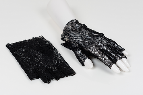 Black Fingerless Floral Lace Gloves
