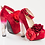 Thumbnail: Rose Red Platform Chunky Clear High Heel Shoes