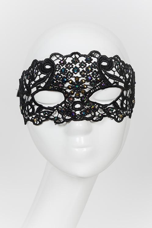 Octavia - Black lace Swarovski Mask