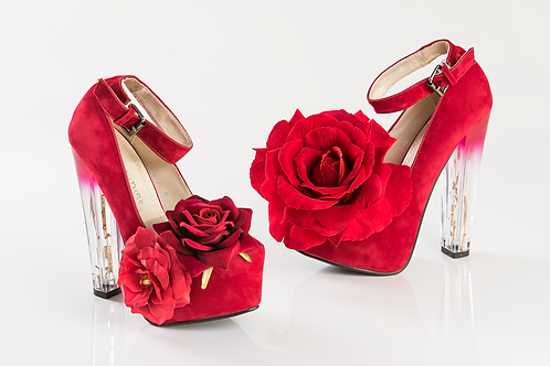 Rose Red Platform Chunky Clear High Heel Shoes