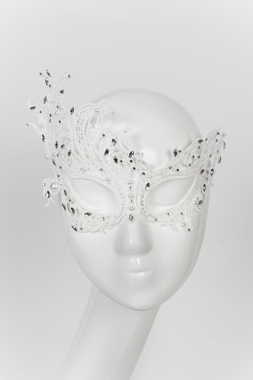 Celest- White Lace Rhinestone Mask