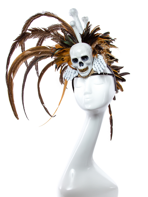 Mganga - Tribal Mohawk Feather Skull  Headdress