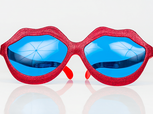 Giant Red Glitter Funky Town Kiss Glasses
