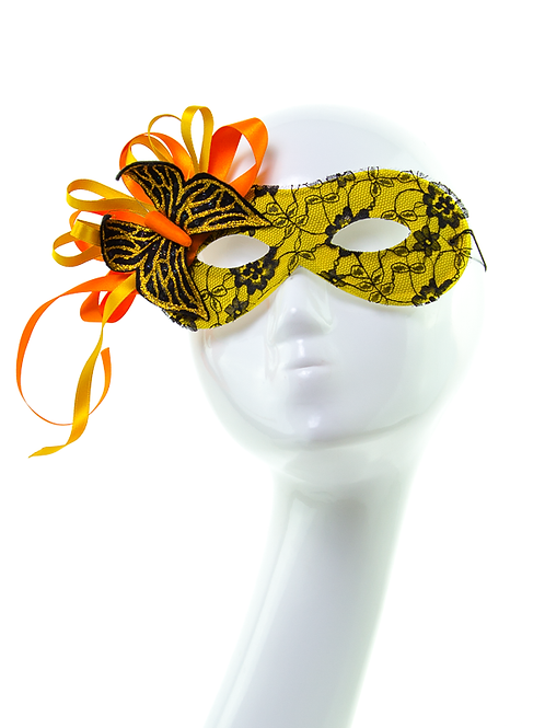 Papillon - Yellow and Black Lace Butterfly Mask