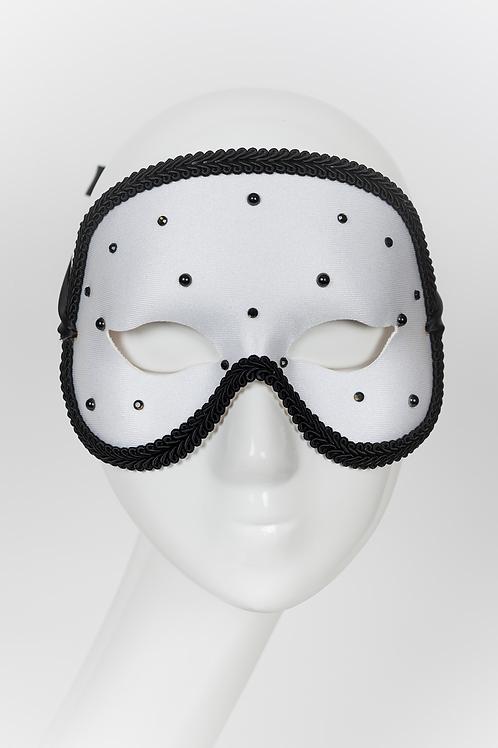 Giovanni - White and Black Rhinestone Mask