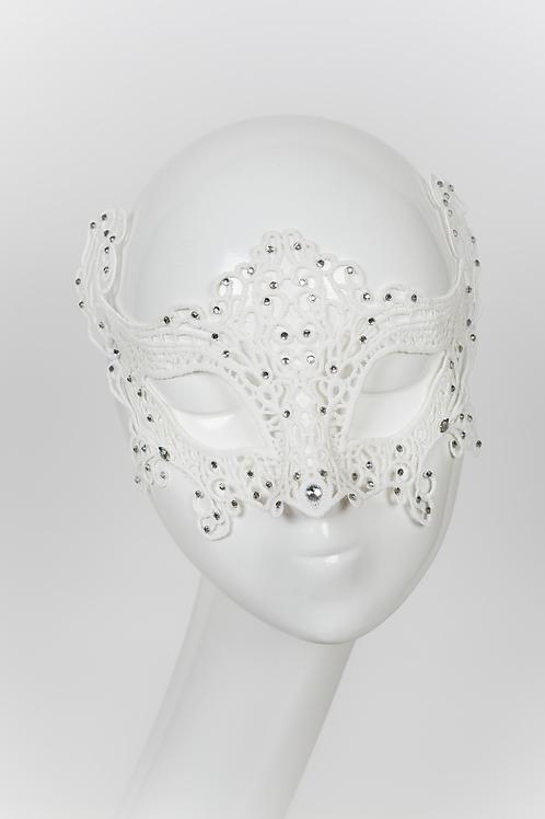 Drizella - White Lace Rhinestone Mask