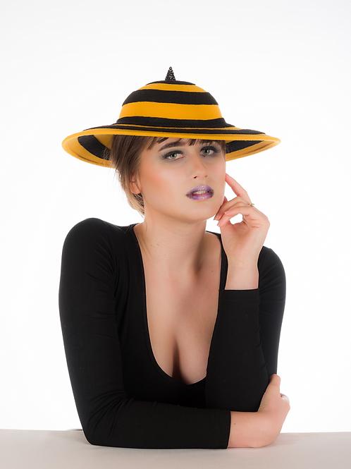 Buzzed - Swarovski Striped Yellow and Black Felt Hat