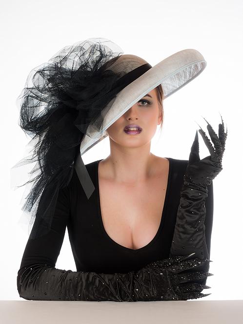 Hepburn - Black Tulle Bow Sinamay Hat