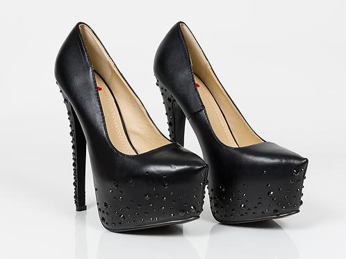 Black Swarovski Stiletto Platform High Heel Shoes