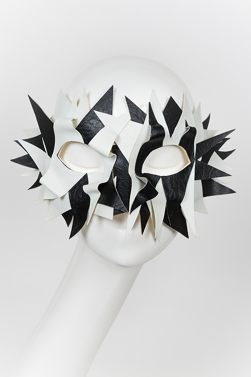 Stylistic - White and Black Leather Textured Mask