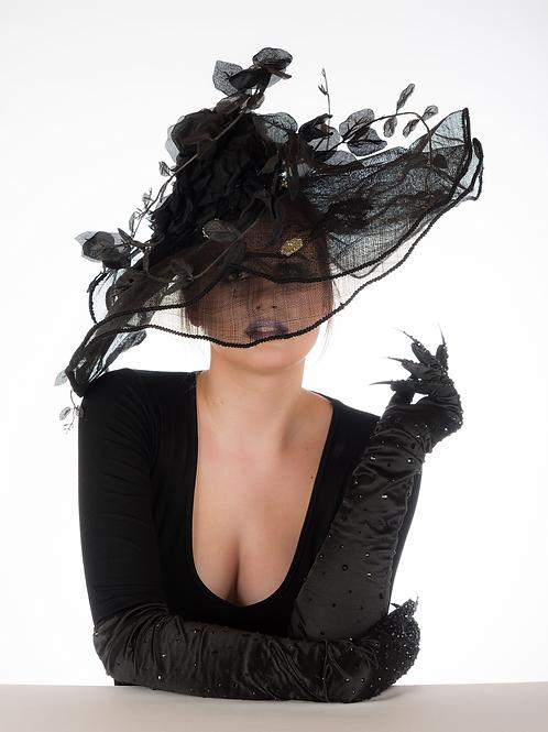 Nightshade - Black Creeper Swarovski Brooch Hat