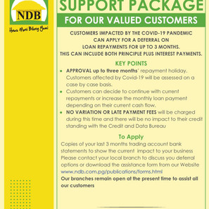 NATIONAL DEVELOPMENT BANK ANNOUNCES COVID19 SUPPORT PACKAGE