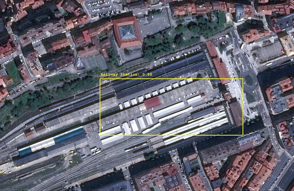 Automated location of railway station in satellite image.