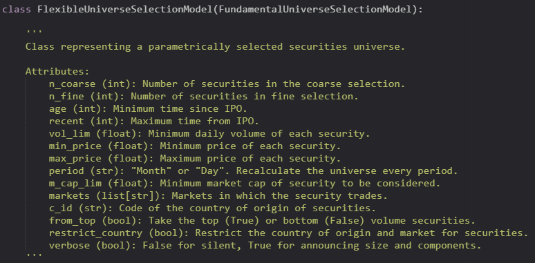 Python class typehints for a stock selection model.