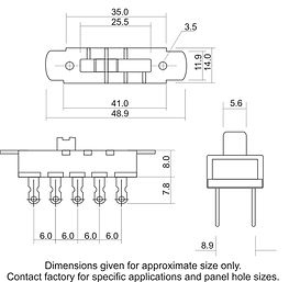 3 Position Slide Switch Drawing
