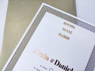 Faire-part mariage découpe laser art déco