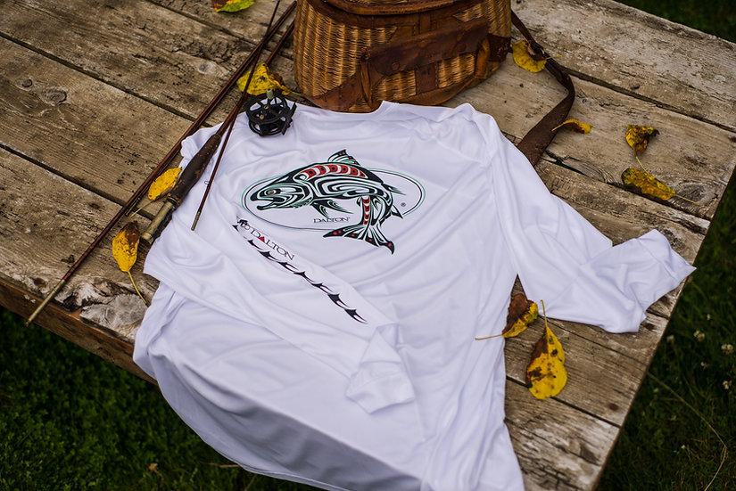 Spirit Salmon Long Sleeve Poly Tee, White
