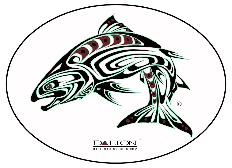 """Spirit Salmon Decal, White - 6.5"""" x 5"""""""