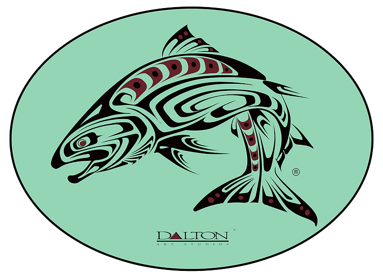 "Spirit Salmon Decal, Teal - 6.5"" x 5"""