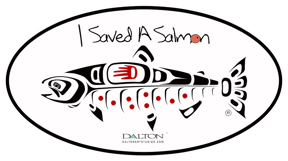 "I Saved A Salmon Decal - 5.5"" x 3"""