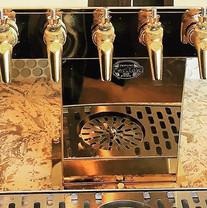 Beautiful golden beer tap installed