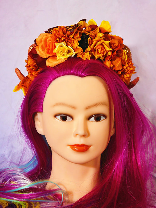 Autumn Butterfly Fantasy Ramhorn Headpiece