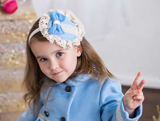 Baby Blue & Creme Lace Lolita Bow Headpiece
