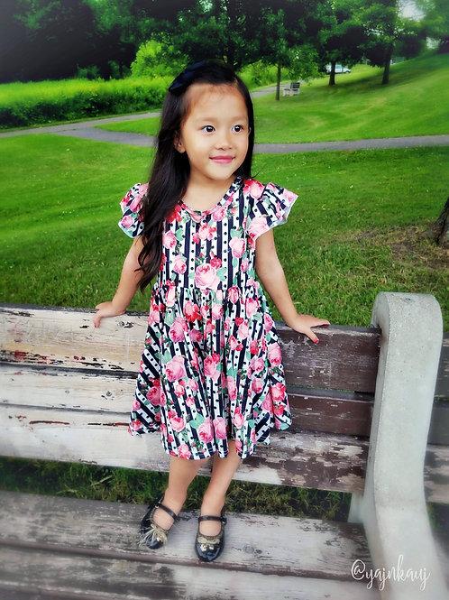 Black Stripe Rose Flutter Sleeve Dress