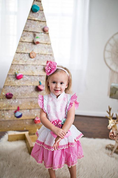 Kawaii Pink Flower Lace Stripe Girls Dress