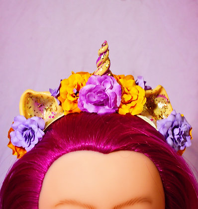 Gold & Lilac Floral Unicorn Headpiece