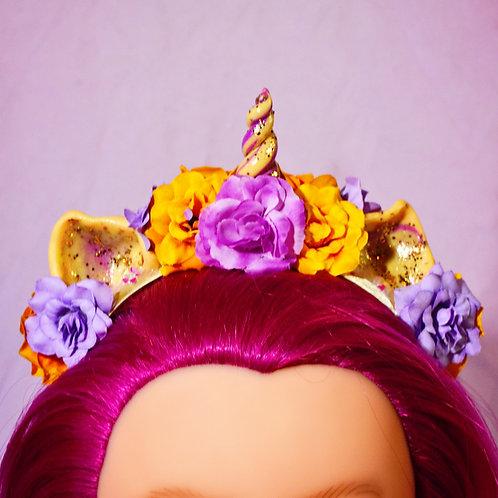 Gold & Lilac Floral Unicorn Headpiece