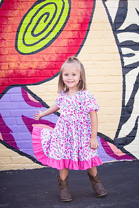 Cherry Blossom Big Twirl Girls Dress
