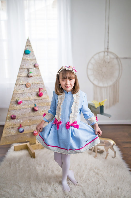 Colonial Blue Ivory Lace Pink Bow Girls Dress