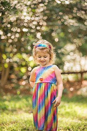 Fun Girl's Sleeveless Rainbow Dress