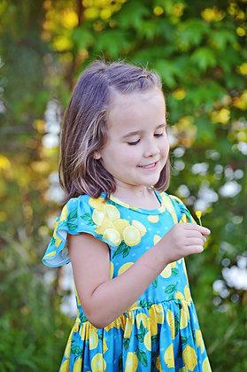 Teal Lemon Flutter Sleeve Dress