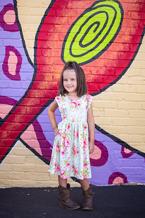 Sleeveless Blue Creme Stripe Rose Floral Dress