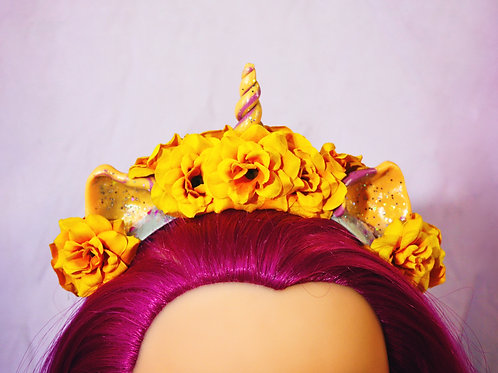 Yellow Gold Floral Unicorn Headpiece