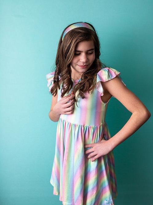 Pastel Rainbow Flutter Sleeve Girls Dress