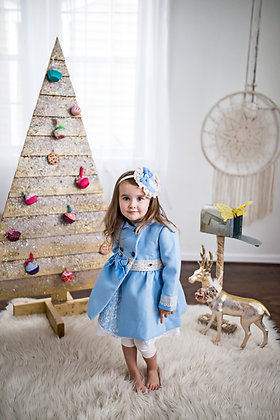 Baby Blue Bow Lace Girls Peacoat Outerwear