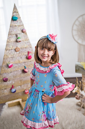 Blue Pink Lace Floral Flared Girls Dress