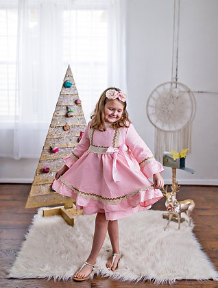 Pink Lace Big Bow Autumn Winter Flared Girls Dress